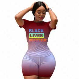 Discount trendy sexy short dresses BLACK LIVES MATTER Letters Women Dresses Tracksuit Gradient Color Summer Dress Trendy T-shirt Shorts Sets Casual Outfits