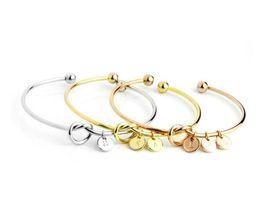 $enCountryForm.capitalKeyWord UK - 26 Letter Rose Gold Silver Gold Tie Knot Heart Cuff Bracelet Bangle Girl Fashion Jewelry Alloy Round Pendant Charm Bracelets Gifts Crafts