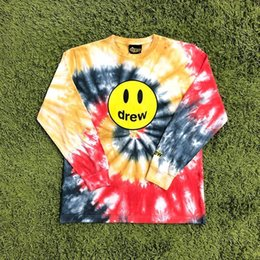 black shirt dye Canada - The Drew House Drew Smile Face Printed Tie-dye Long Sleeve T shirts tees Hiphop Streetwear Oversized T shirt