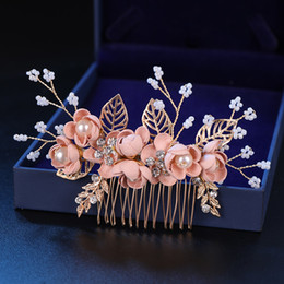 $enCountryForm.capitalKeyWord Australia - Fashion Pink Blue Flower Hairpins Pearls Rhinestone Hair Combs Prom Bridal Wedding Hair Accessories Gold Leaves Hair Jewelry T190625