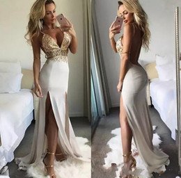 dress open one side 2019 - Sexy Cutaway Sides Two Sides Split Prom Evening Dresses 2019 Spaghetti Straps Open Back Long Satin Party Gowns Cheap che