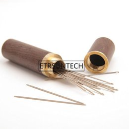 $enCountryForm.capitalKeyWord Australia - 100pcs Hand Sewing Needles Embroidery Mending Housing Case Durable Practical Wood Box Leather Knitting Craft DIY Tools