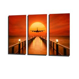 Airplane Art Australia - Airplane, Sunset Horizon,3 Pieces Canvas Prints Wall Art Oil Painting Home Decor (Unframed Framed) .