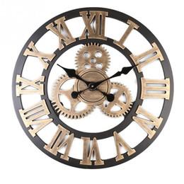 $enCountryForm.capitalKeyWord Australia - European Wooden Retro Gear Clock Creative Round 3D Wall Clock Modern Design Living Room Cafe Quiet Decorative Quartz