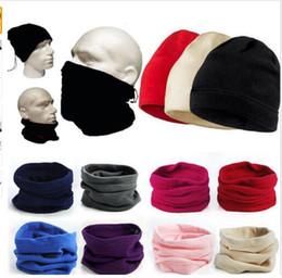 Polyester Mask Australia - Fashion Women Men Thermal Fleece Beanie Hat Snood Scarf Neck Warmer Ski Balaclava Winter Unisex Hat Scarves Mask Three purposes