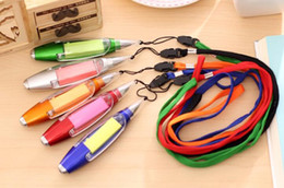 Sticky write note online shopping - Multifunctional Ballpoint Pens Sticky Notes LED Light Pen New Cute Stationery Lanyard Notes Light Pen