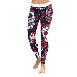 Leggings Woman S Skull Australia - 30pcs Tights Sportswear Gym Leggins Skull Printed Legging Women Fitness Wear For Yoga Pants