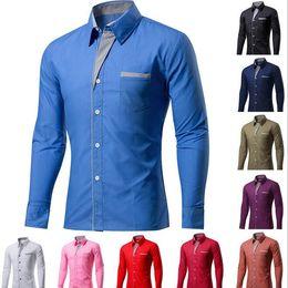 Hot Office Shirts Australia - Hot Spring Men's Slim Fit Long Sleeve button down Shirt Male Comfortable Social Office Business Dress Shirt Groomsman party shirt suit