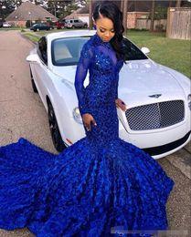$enCountryForm.capitalKeyWord Australia - Luxuriously Long Tail Royal Blue 2019 Black Girls Mermaid Prom Dresses High Neck Long Sleeves Beaded Handmade Flowers Evening Party Gowns