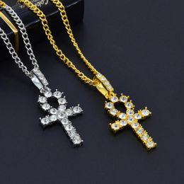 $enCountryForm.capitalKeyWord Australia - 10pcs Rhinestone Cross Pendant Gold Silver Alloy Material CZ Egyptian Key of Life Pendant Necklace Men Women Jewelry T-27