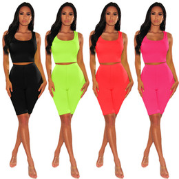 Wholesale navel shirts resale online – Fashion Jumpsuits Sleeveless Exposed Navel Women Summer Shirt Sexy Tracksuits Women s Two Piece Pants Hot Sale Lady Clothing Bodycon Dresses