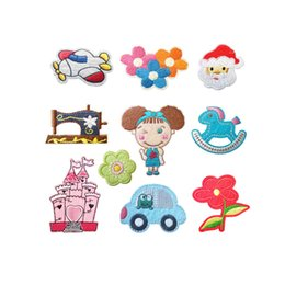 iron car patch UK - Flowers Embroidery patch cartoon Girl Rocking horse car shape Back gum Iron on appliques Kids' clothing decorative accessories DL_CPIC009