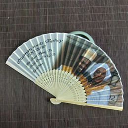 fan party favors Canada - Custom printing photos hand fans silk folding Wedding favors bridal shower anniversary souvenir baby birthday party return gifts for guests