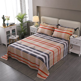 quality textiles Australia - Stylish Color Stripe Pattern 3Pcs Home Textile Printing Flat Sheets Combed Cotton Bed Sheet Bedding Linen For 220x240cm Set Size
