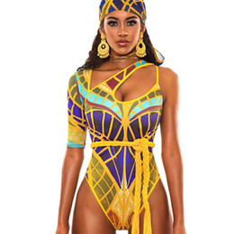 Wholesale one shoulder bathing suits online – African Printed Swimsuit Women One Piece Swimwear Cut Out Monokini One Shoulder Beach Bathing Suits Totem Swimming Suit