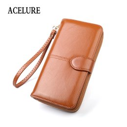 $enCountryForm.capitalKeyWord NZ - Solid Color Women Long Wallets Simple Style Zipper & Hasp Purse With Card Holder Oil Wax Pu Leather Ladies Daily Wallet