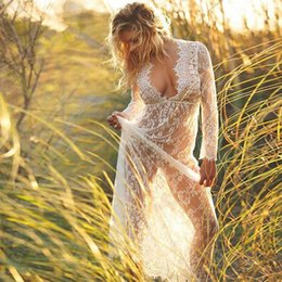 Discount lace see through maxi dress - Meihuida Sexy See Through Lace Beach Dress Women Lace Bathing Bikini Cover Up Long Sleeve Long Maxi Dress Holiday Sundre