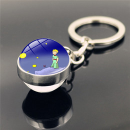 christmas gifts little boys Australia - Le Petit Prince Jewelry Metal Keychain Little Prince Art Picture Double Sided Glass Ball Key Chain Pendant Christmas Gifts
