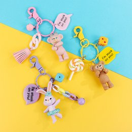 $enCountryForm.capitalKeyWord Australia - New 7CM 2019 And Bear Doll Keychains Cute Cartoon Doll Animation Keychain Lady Car bag Keyring bag Decoration