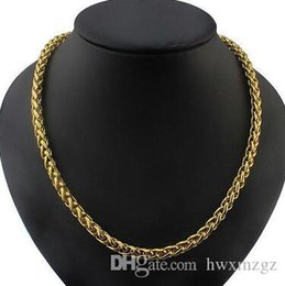 wheat chain filled UK - 6mm 14k Gold Plated Braided Wheat Chain Necklace Mens Link 24inch