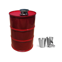 Chinese  New 25oz Creative Water Bottle Vodka Oil Drums Whisky Flagon Stainless Steel304 Alcohol Liquor Hip Flask With Funnel Flask Cup ZJ0105 manufacturers