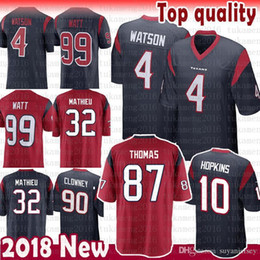 408151fb2 10 DeAndre Hopkins Texans Jersey 4 Deshaun Watson 99 J.J. Watt 32 Tyrann  Mathieu 90 Jadeveon Clowney Jerseys Navy Red White