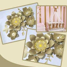 $enCountryForm.capitalKeyWord Australia - Handmade Gold Rose Flor DIY Paper Flowers Gold Leaves Set For Backdrops Decorations Nursery Wall Deco Girls Room Video Tutorials