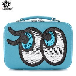 Makeup Suitcases Australia - Cute Paillette Makeup Case Lovely Eyes Cosmetic Bag Brand Leather Make Up Box Portable Travel Makeup Organizer Bag Suitcase Sac