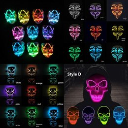 Full Face mask scary online shopping - Halloween EL Skull Masks Luminous Scary Skeleton Mask LED Masked Fluorescence Masquerade Masks Carnival Cosplay Costume Mask