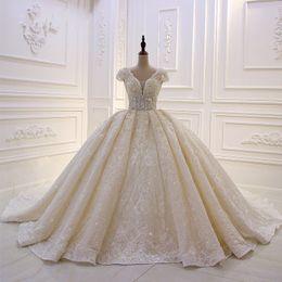 $enCountryForm.capitalKeyWord NZ - Luxury Empire Puffy 2020 Wedding Dress New Design vestido de noiva Princess Short Sleeve Ball Gown Lace Appliques Crystal Bridal Gowns