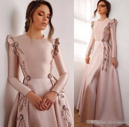 1a25ddb3435 2019 Sexy Beaded Prom Dresses Jewel Neck Long Sleeves Embroidery Evening  Dresses Cheap Formal Party Bridesmaid Pageant Gowns