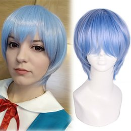 Wholesale rei ayanami cosplay online – ideas Details about Ayanami Rei EVE Evangelion Ayanami Light Blue Cosplay Short Straight Bangs Wigs