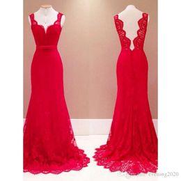 Line Short Dresses Sleeves Red NZ - Elegant Red Lace A Line Prom Dresses Short Sleeves Sweep Train Special Occasion Dresses Popular Evening Dresses