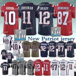 7bd3649dd New Patriot jersey 12 Tom Brady 11 Julian Edelman 87 Rob Gronkowski 92  James Harrison High-quality 2019 new jerseys men