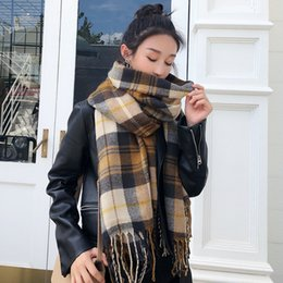 purple plaid scarf Australia - New designer scarf advanced wild plaid ladies scarf cashmere shawl winter thick warm scarf Christmas gifts