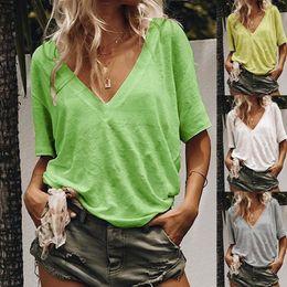 $enCountryForm.capitalKeyWord Australia - Women designer T Shirt V Neck Short Sleeve Plain Casual T-shirt Top for Women Black Fashion Casual Woman V Neck Designer Women T Shirt.