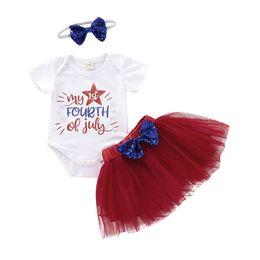 Girls autumn dresses sets online shopping - Girls Jumpsuit Clothing Sets Sequin Letter Stars Mesh Princess Dress Set American Flag Independence National Day Elastic Bow Headbands