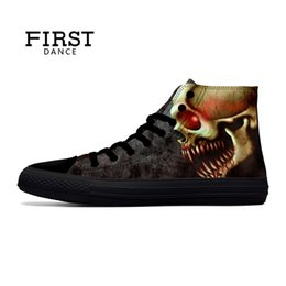 Red Skull Shoes Australia - FIRST DANCE Punk Nice Skull Men Black Shoes Classic Canvas Men Casual Shoes Fashion High Top Shoes Men Printed Canvas Sneakers