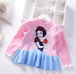 $enCountryForm.capitalKeyWord Australia - Snow White girls sweater pullover kids cartoon character printed knitted sweater jumper children patchwork color falbala princess tops F8932