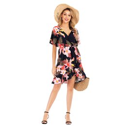 $enCountryForm.capitalKeyWord NZ - in stock Women Short Sleeve Casual Big Flower Print Dress V-neck Ruffles Fashion Summer Dresses Beautiful Vacation Midi Sundress