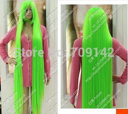kanekalon lace wigs Canada - 150 cm Long Straight Hair Light Green Celeste Extended High Thickening WIG Kanekalon made Brazilian no lace front wigs