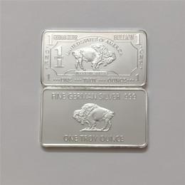 $enCountryForm.capitalKeyWord Australia - wholesale 1 oz 999 fine german silver plated bar buffalo bullion bar coin,german silver bar, DHL free shipping, 50pcs.lot