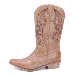 $enCountryForm.capitalKeyWord Australia - Yu Kube Classic Embroidered Western Cowboy Boots For Women Leather Cowgirl Boots Low Heels Shoes Knee High Woman Boots MX190801