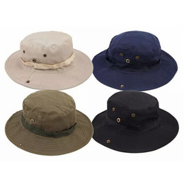 Plain Camp Hat Australia - Fashion Men Jungle Fishermans Cap Summer Women Outdoor Sunscreen Bucket Round Cap Leisure Camping Hiking Hat TTA932