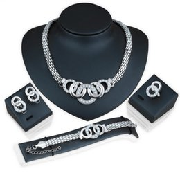 Bride Jewelry Set Crystal Australia - Fashion exaggerated crystal jewelry bride necklace earrings four-piece suit women Necklace Earrings Ring Bracelet jewelry set
