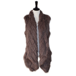 MediuM long vest online shopping - real rabbit fur knitted vest handmade double faced knitted waistcoat medium long cardigan short design knitted fur vest Y190916