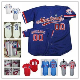 Wholesale Custom Montreal Expos Mens Womens Youth Kid White Pinstripe Royal Blue Baseball jersey Size S XL