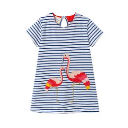 Pink chinese lanterns online shopping - Girls Dresses Striped Contrasted Colors O neck Baby Girls Dress INS Animal Cartton Girls Spring Clothes Floral Dresses