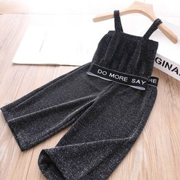 wholesale girls tracksuit Canada - Ins glisten girls suits Summer 2020 new fashion casual kids suits letter girls tracksuit kids tracksuit tank tops+Wide leg pants 2pcs B1448