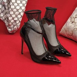 $enCountryForm.capitalKeyWord Australia - New fashion Women high heels Transparent material Soft and comfortable Hate Tiangao Women's Lace Shoes Heel height: 10.5cm Lace fabric